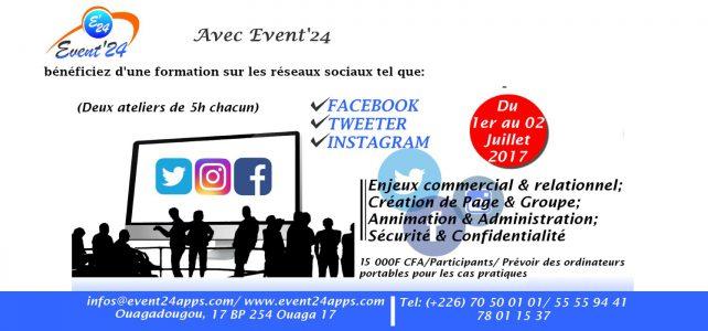 Formation sur les réseaux sociaux Facebook, Twitter, Instagram du 1er au 2 Juillet